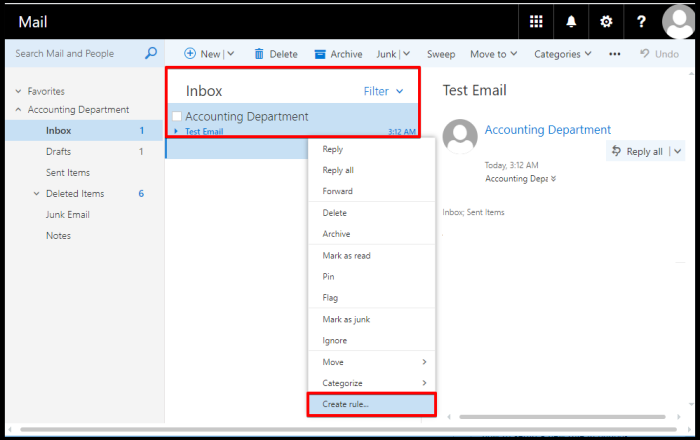 set rules to emails via outlook web access