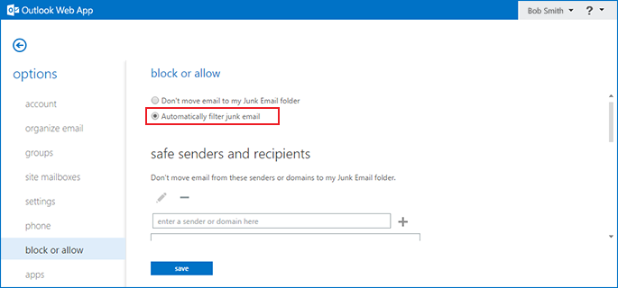 how to disable the Outlook Exchange spam filter step 5