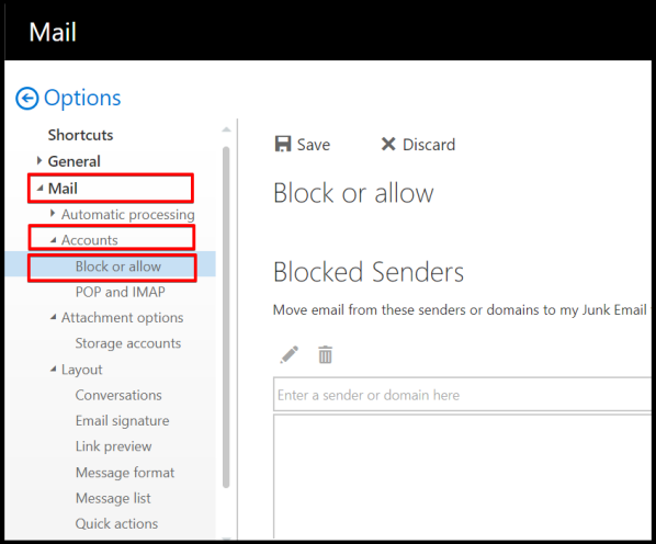 how to access block or allow settings on owa