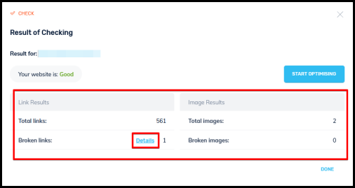 check your website feature result window on traffic booster page