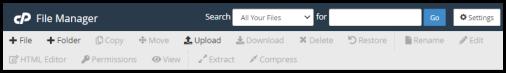 task bar on cPanel File manager via hosting manager