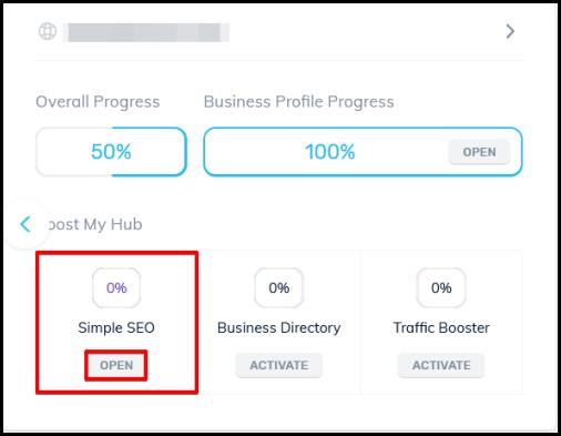 open button to access simple SEO via OMH dashboard
