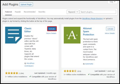 WordPress Activate Now plugin button