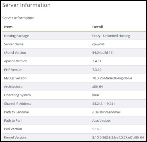 Server Information dialogue box for web hosting