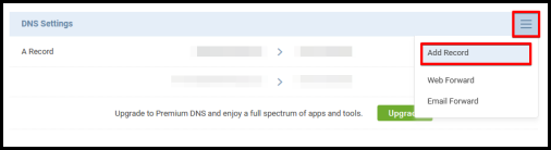 add record via account manager for email hosting