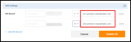 add MX Record info to connect to email hosting