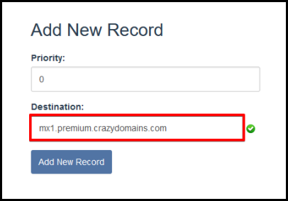 add new MX record information via hosting manager