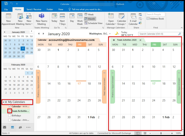 tick box option to show Calendar user wish to display on Outlook