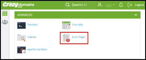 Error pages option in cPanel via hosting manager