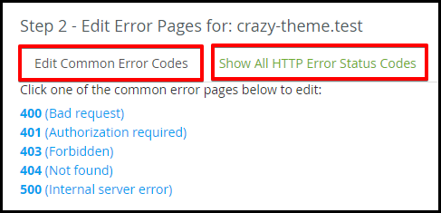 step 2 select the error message to customise choose between common error tab and show all tab