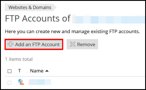 add an FTP account button in Plesk Hosting Manager