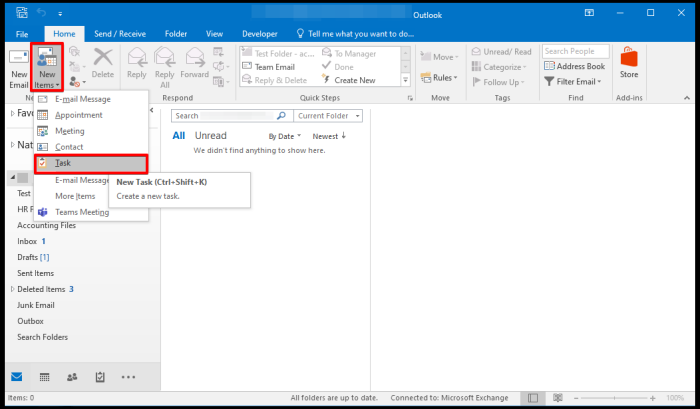 create task mail window on outlook