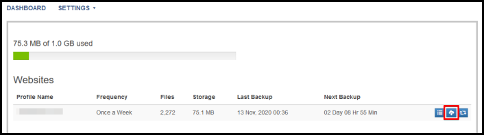 download button on site backup dashboard