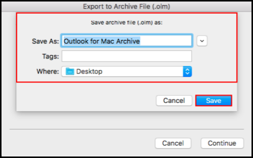how to export data on outlook mac mail select file type