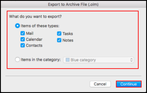 how to export data on outlook mac mail select folders to export