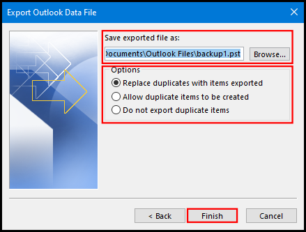 export data file on outlook 2016 file location