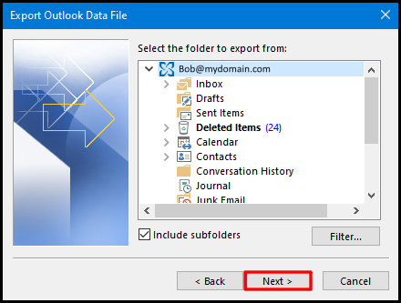 export data file on outlook 2016 mailbox