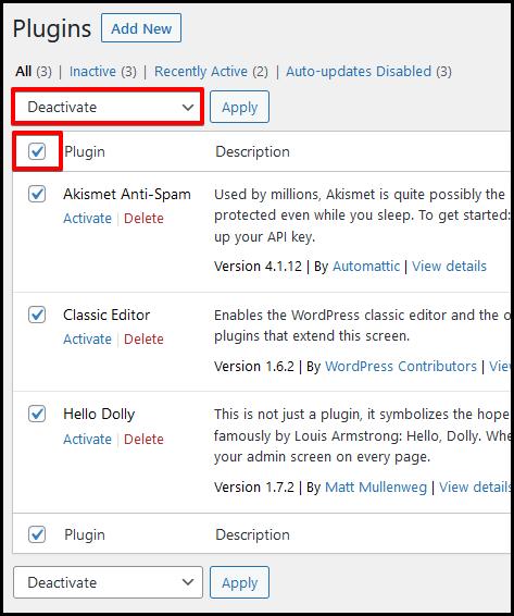 WordPress plugins deactivate bulk option