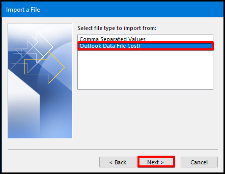 how to import data on outlook select file type window
