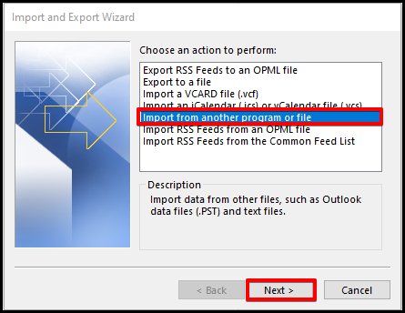 how to import data wizard window on outlook