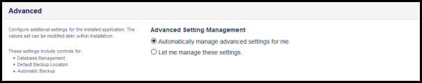 advanced settings for wordpress installation