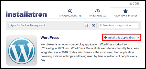 install this application on wordpress on installatron
