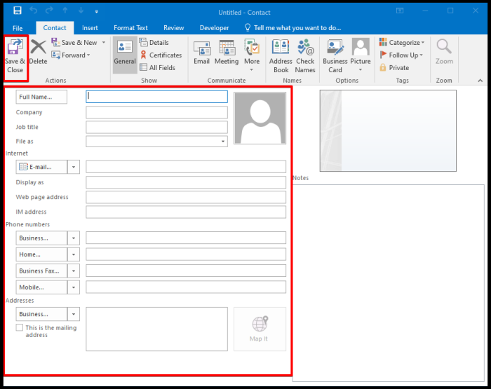 create mail contact via outlook detail window