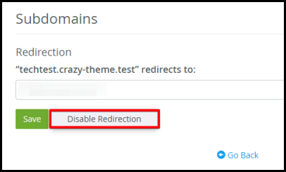 disable redirect window option to change url in hosting manager cpanel