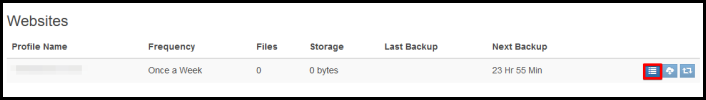 The Backup History button in Siteplus
