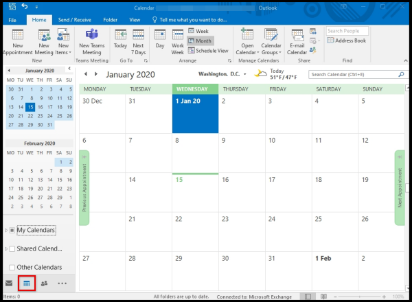 how to open calendar outlook