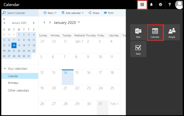 help on how to open outlook monthly calendar