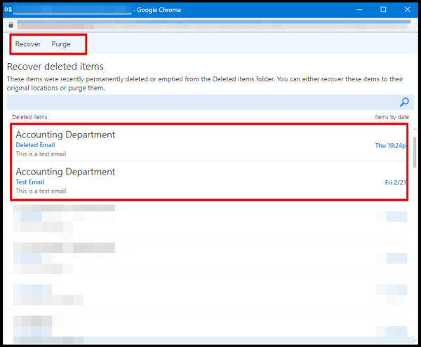 recover deleted emails from server on owa options window
