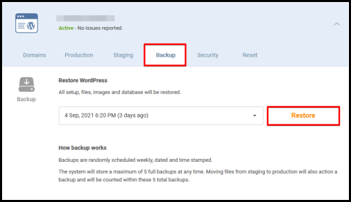 Restore button in CrazyDomains WordPress hosting page