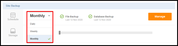 Weekly option to change backup schedule for site backup