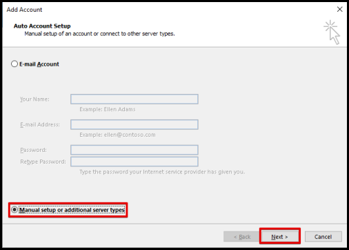 select Manual setup for premium email settings on outlook