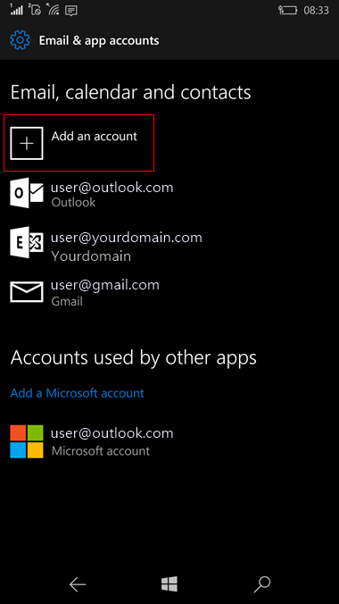 set up Windows 10 mobile to send and receive email Step 5
