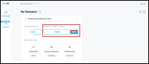 Business profile progress to access seo simple settings