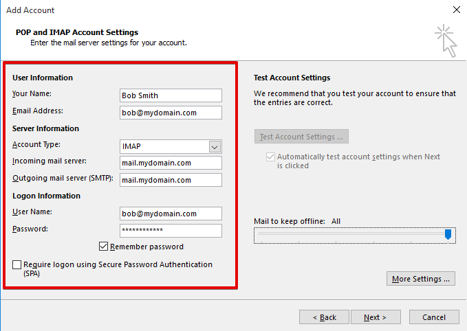 setting up outlook 2013 to check email step 5