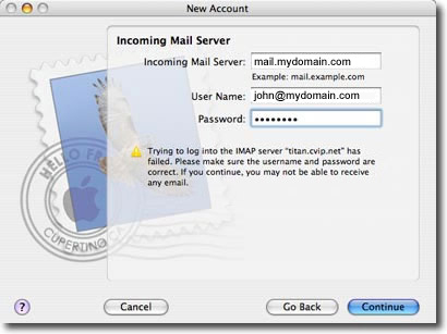 mac os mail setup fields