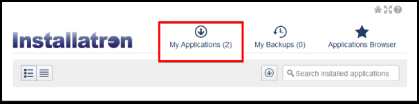 my application tab on installatron page