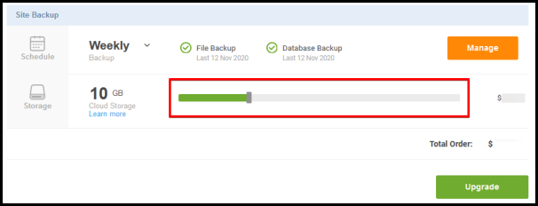site backup slider bar to upgrade the product