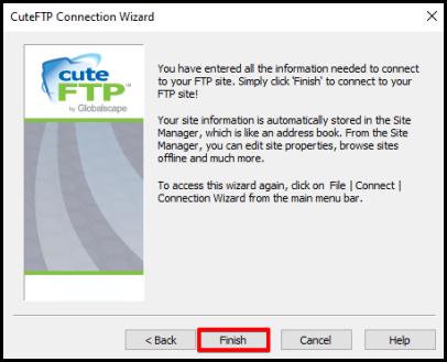 Finish CuteFTP Setup confirmation message