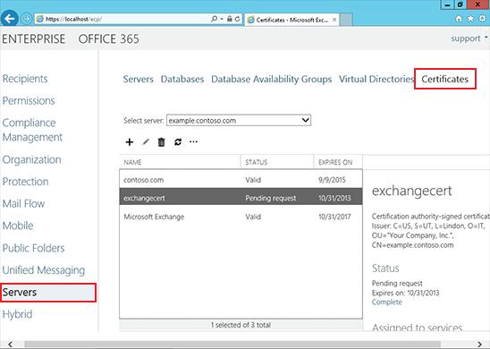 Install an SSL Certificate on an Exchange 2013 server step 5