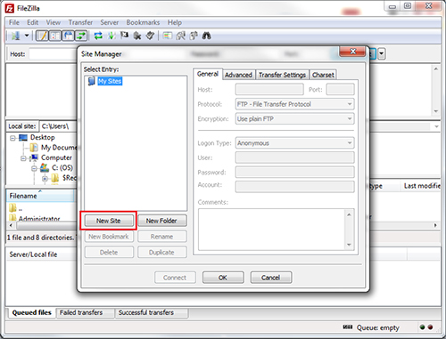 using filezilla to upload showing new site button