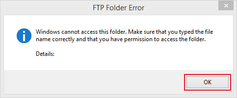 using windows 7 to upload and showing ftp folder error