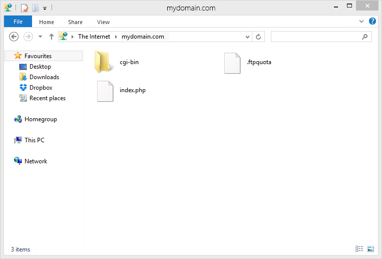 using windows 7 to upload showing cgi-bin folder and index files