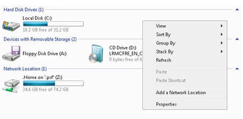 using windows vista to upload showing local disk and  network location