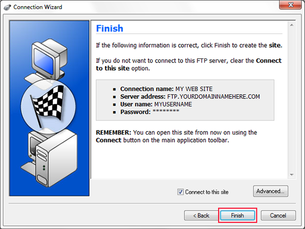 using ws to ftp to upload and clicking finish button of connection wizard