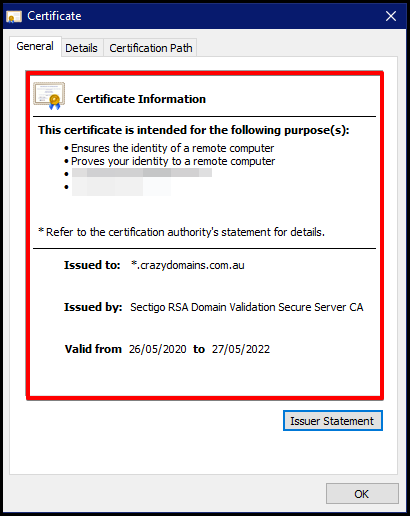 certification information of a website ev ssl