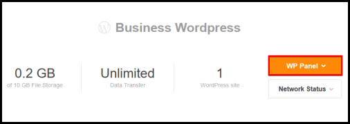 WP Panel button in WordPress Hosting manager page